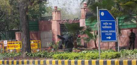 A major training facility for India's military, with an antique cannon literally aimed at the Gandhi Museum.