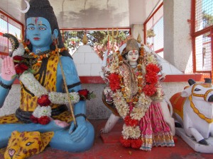 Shiva (left) and, smaller, Shakti inside the shrine. Notice that Shiva is decked in flowers, and Shakti is dressed in silks. She reminded me of the Infant of Prague, who is often  dressed by devoted women in Italian Catholic churches.